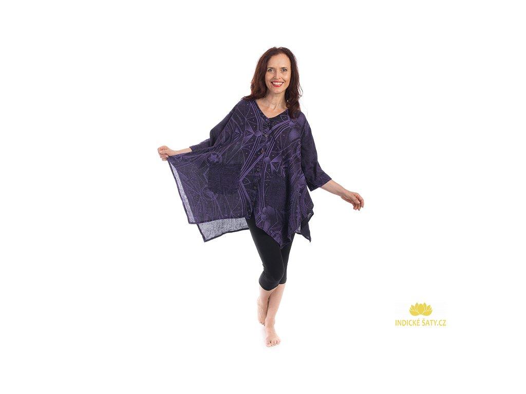 Originální celopropínací tunika magicky fialová