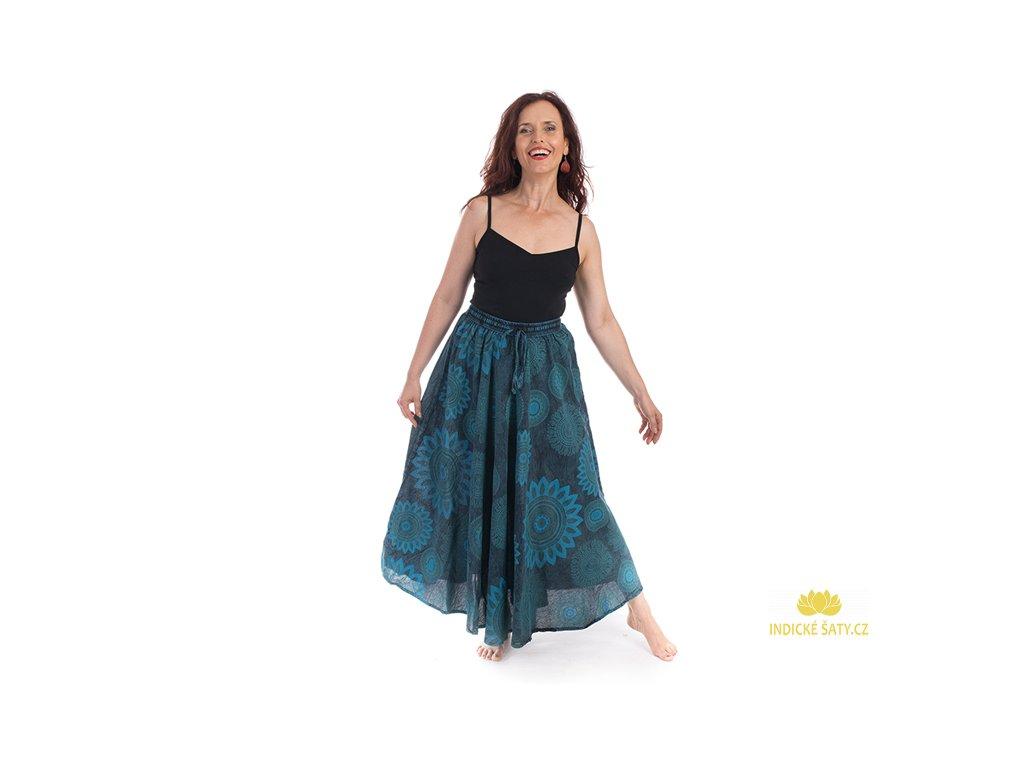 Dlouhá bavlněná sukně stonewash Mandaly modrá