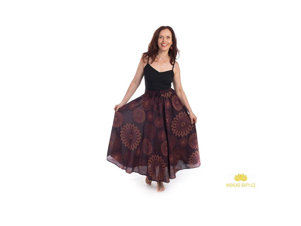 Dlouhá bavlněná sukně stonewash Mandaly vínová