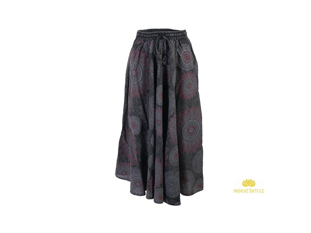 Dlouhá bavlněná sukně stonewash Mandaly šedá