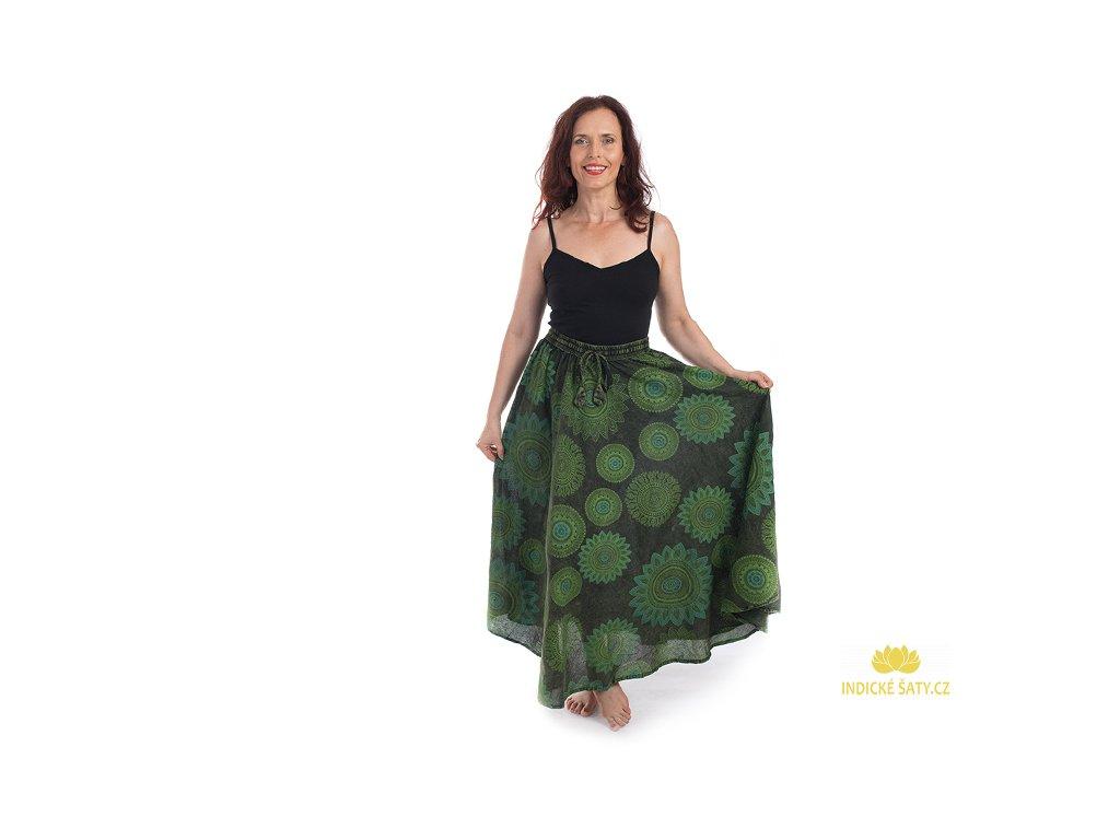 Dlouhá bavlněná sukně stonewash Mandaly zelená