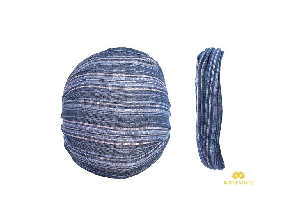Šátek do vlasů pruhovaný oblačně modrý
