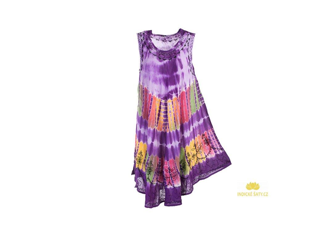 Fialové batikované šaty s výšivkou