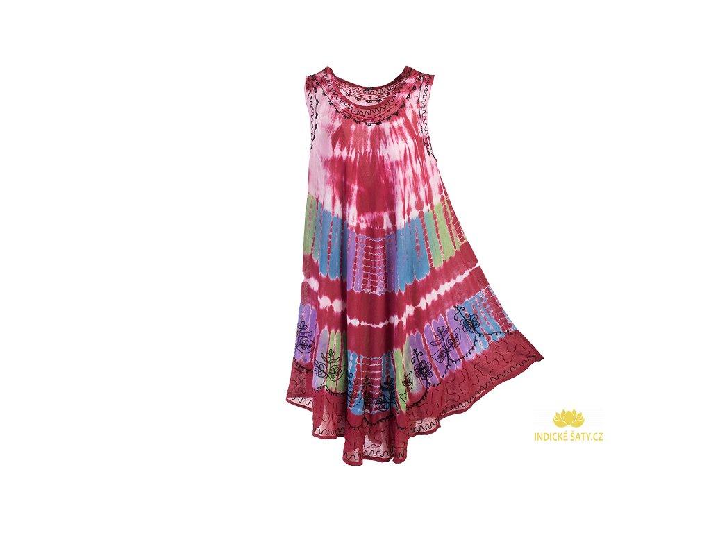 Vínově červené batikované šaty s výšivkou