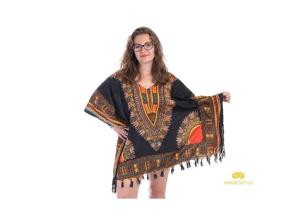 Tunika Africa style černooranžová2