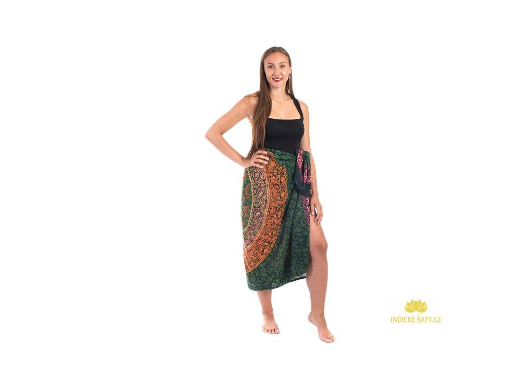 Sárong s ručním tiskem Mandala petrolejově tmavomodrý