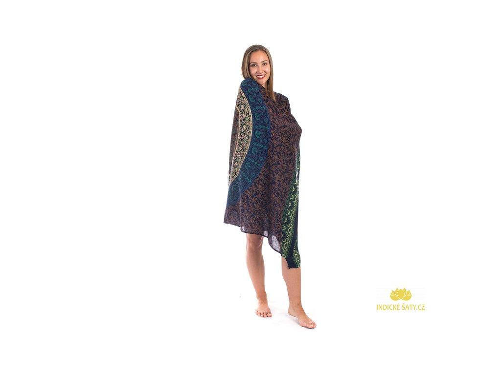 Sárong s ručním tiskem Mandala tmavomodrý