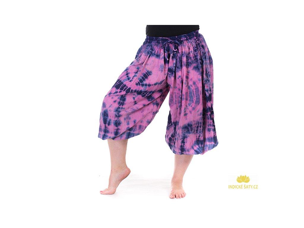 Balonové batikované kalhoty růžové