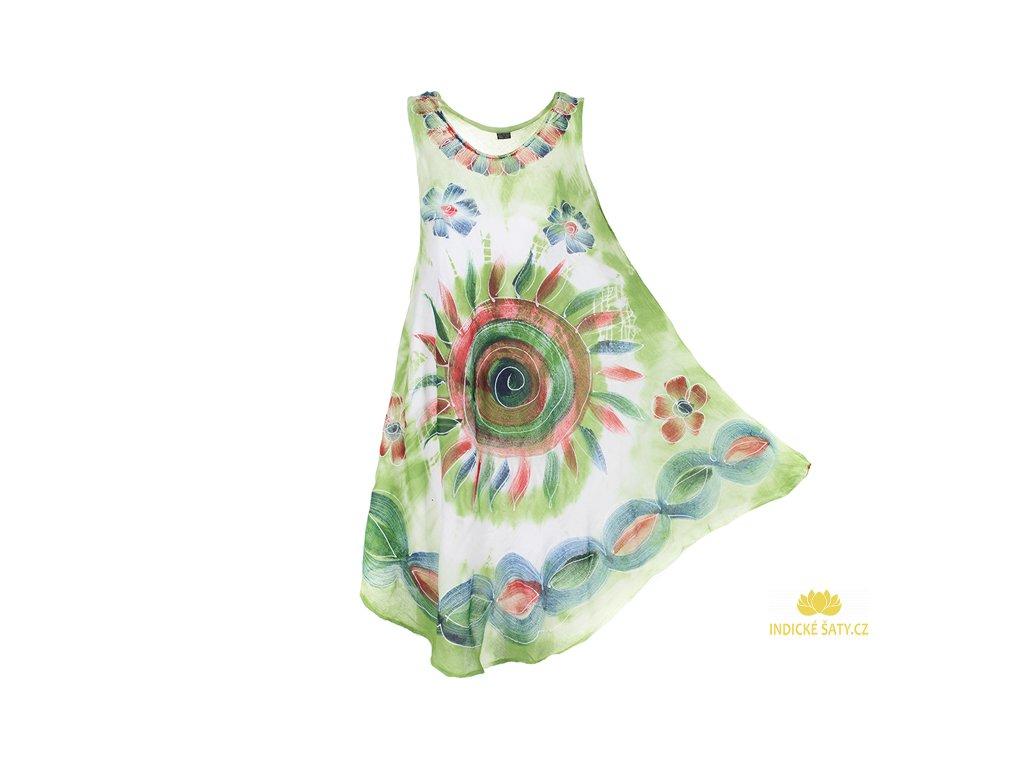 Ručně malované šaty zelené se spirálou