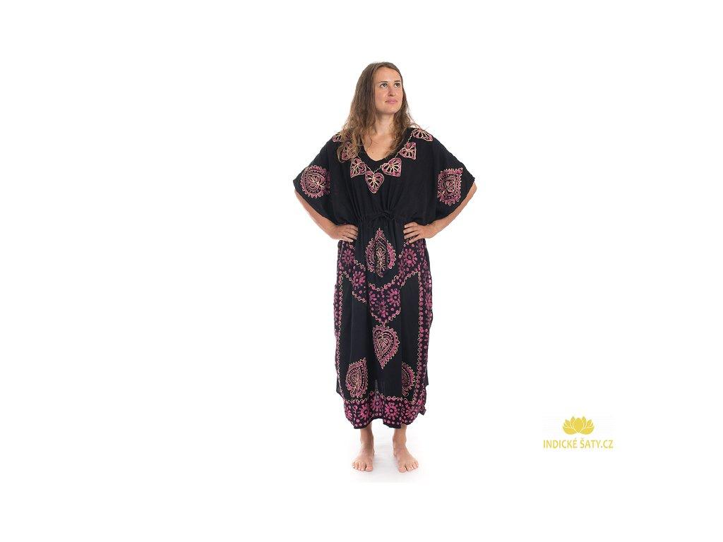 Dlouhé kaftanové šaty černorůžové Listy