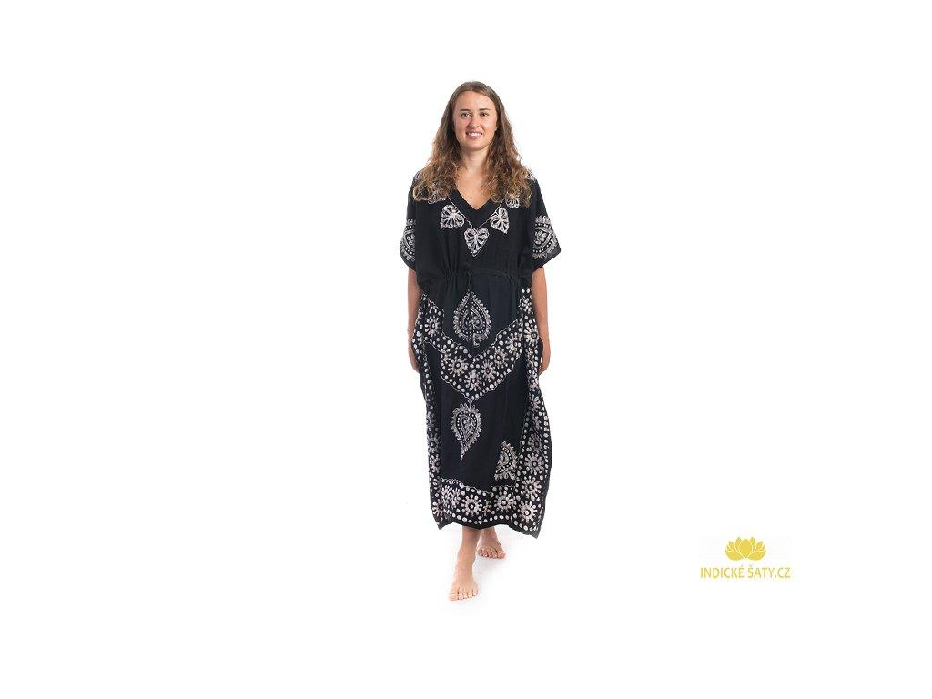 Dlouhé kaftanové šaty černobílé Listy