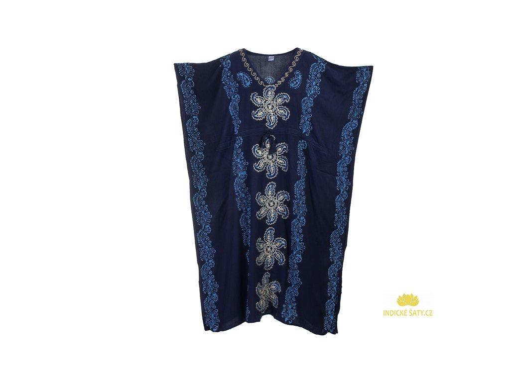Dlouhé kaftanové šaty modré Květiny