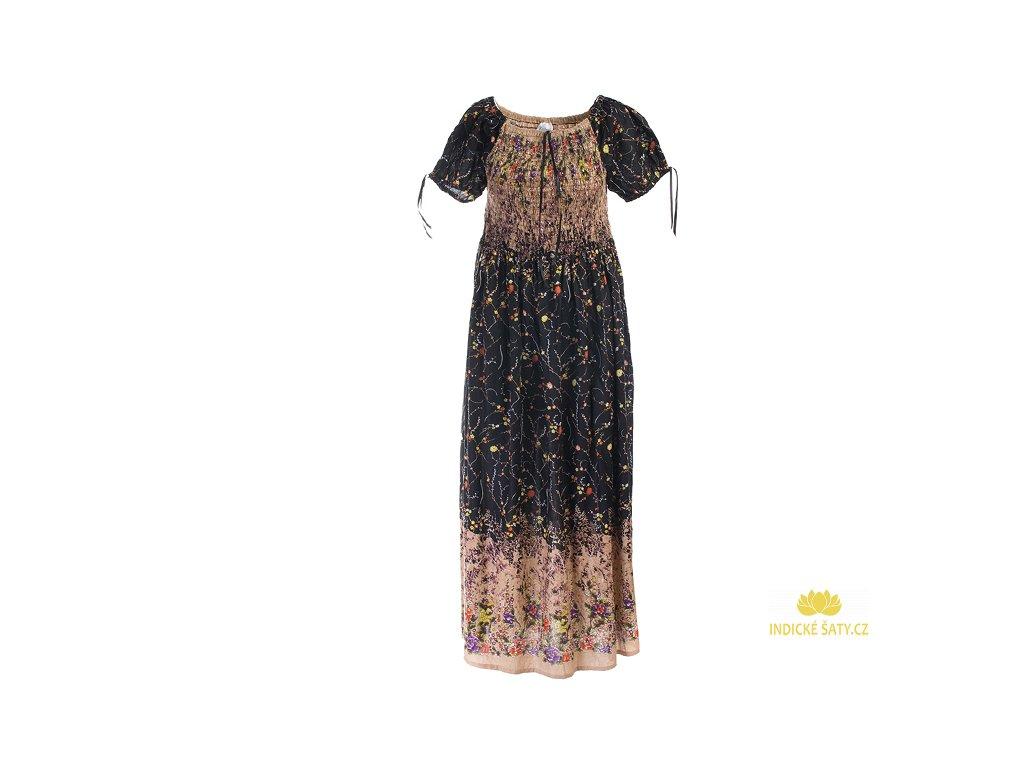 Dlouhé květinové šaty černobéžové