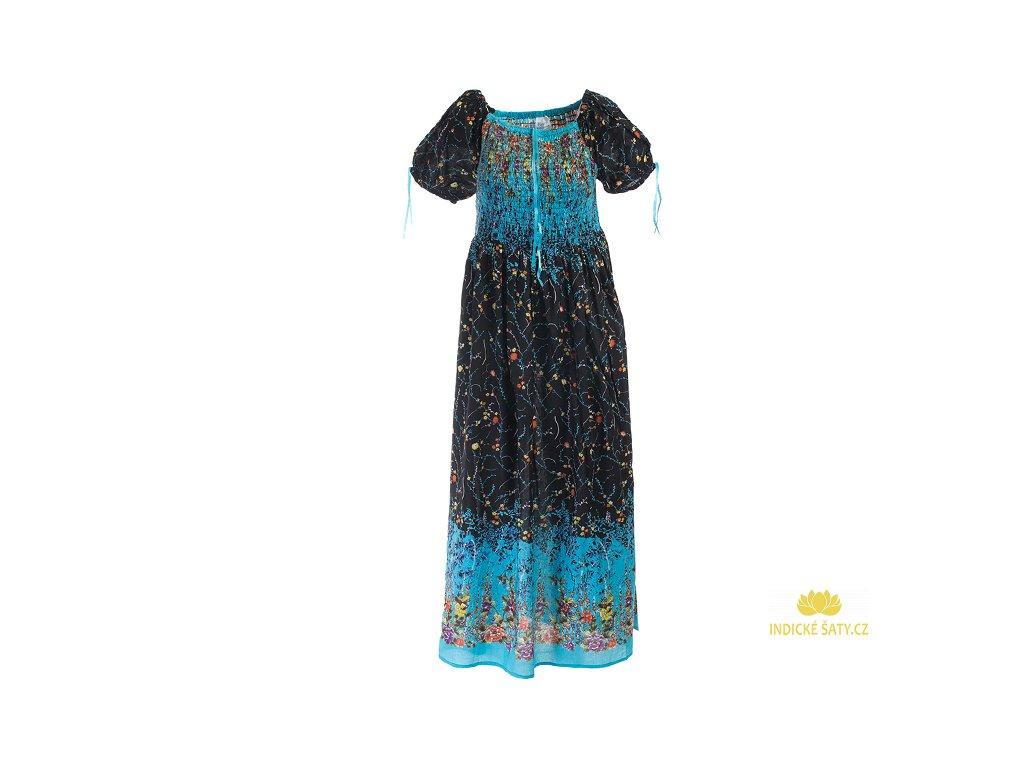 Dlouhé květinové šaty černomodré