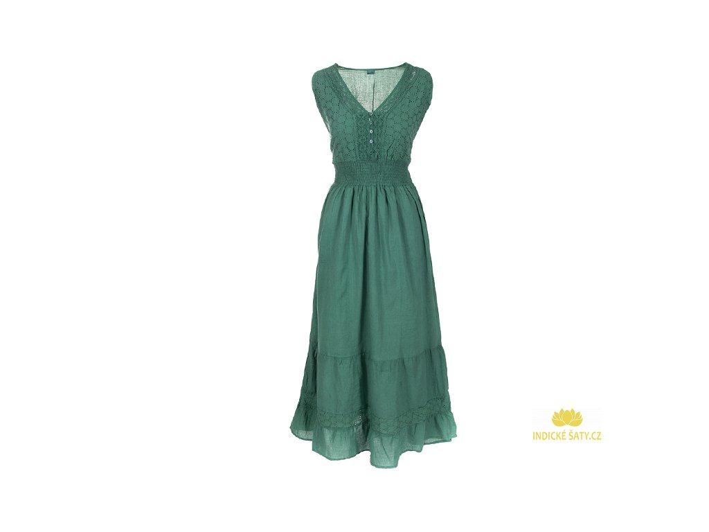 Dlouhé zelené bavlněné šaty s krajkou