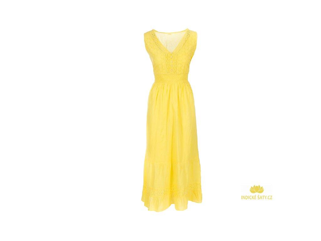 Dlouhé žluté bavlněné šaty s krajkou