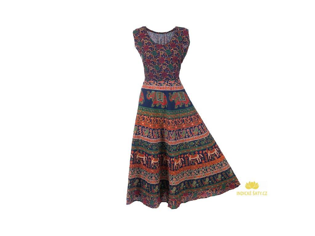 Dlouhé boho šaty z bavlny tmavomodré