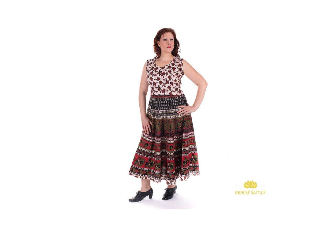 Dlouhé boho šaty z bavlny červenozelené