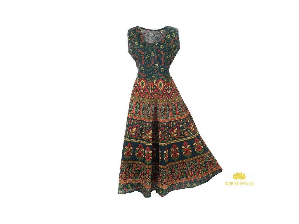 Dlouhé boho šaty z bavlny modrozelené