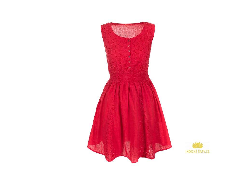 Krátké červené bavlněné šaty s krajkou