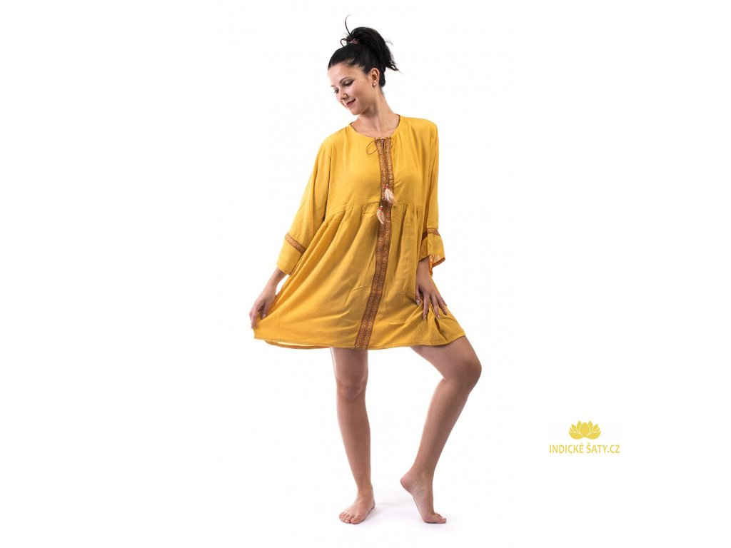 tunikové šaty žluté