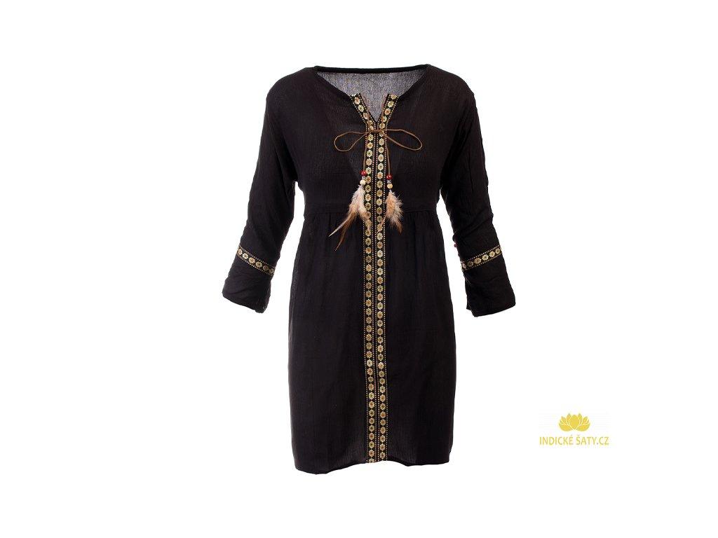 Lehounké tunikové šaty černé