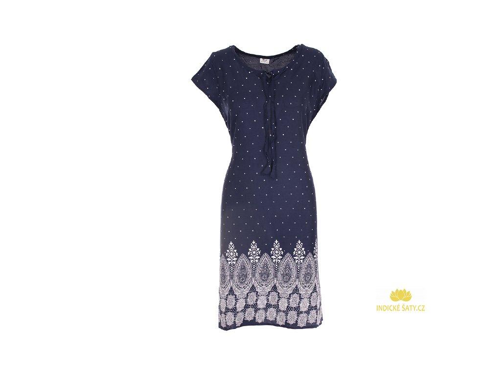 Letní tmavomodré šaty s puntíky