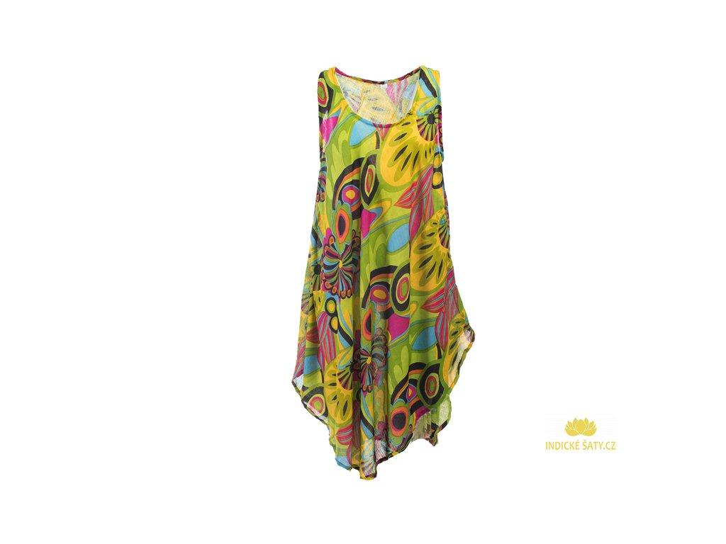 Letní šaty bez rukávů světle zelené