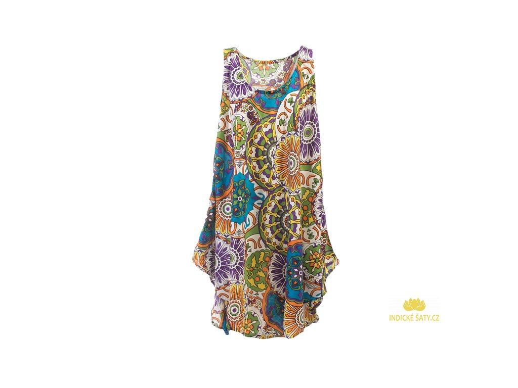 Letní šaty bez rukávů zelenomodrobílé