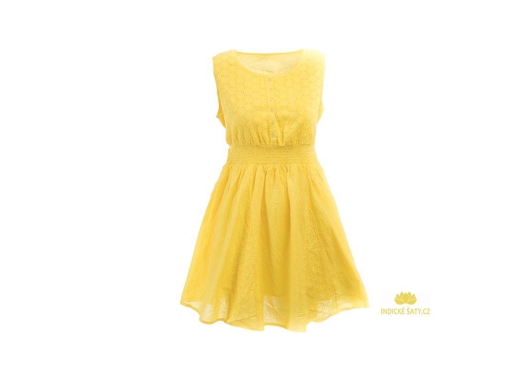 Krátké žluté bavlněné šaty s krajkou