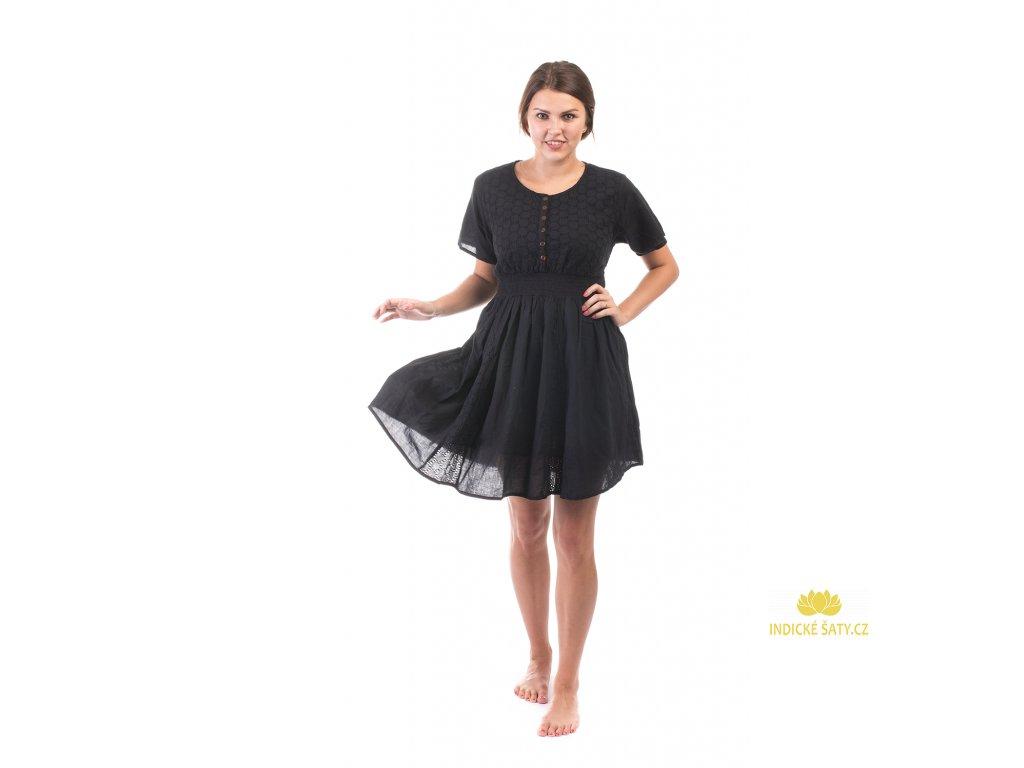 Krátké černé bavlněné šaty s rukávky