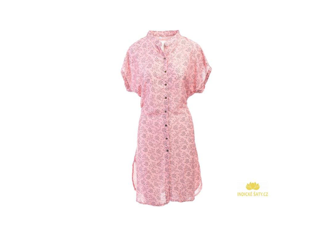 Celopropínací košilové šaty růžové