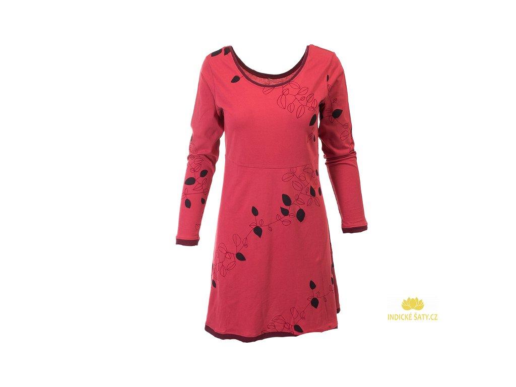 Tmavorůžové podzimní šaty z organické bavlny