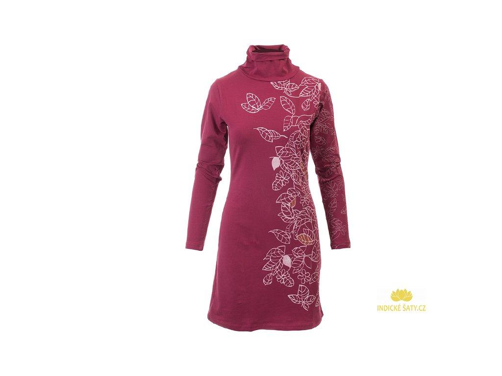 Vínové šaty z organické bavlny s roláčkem