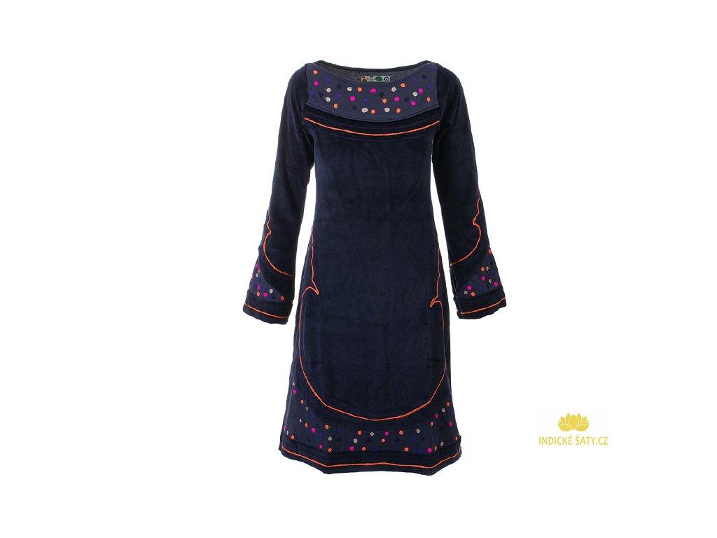 Originální zimní sametové šaty tmavomodré