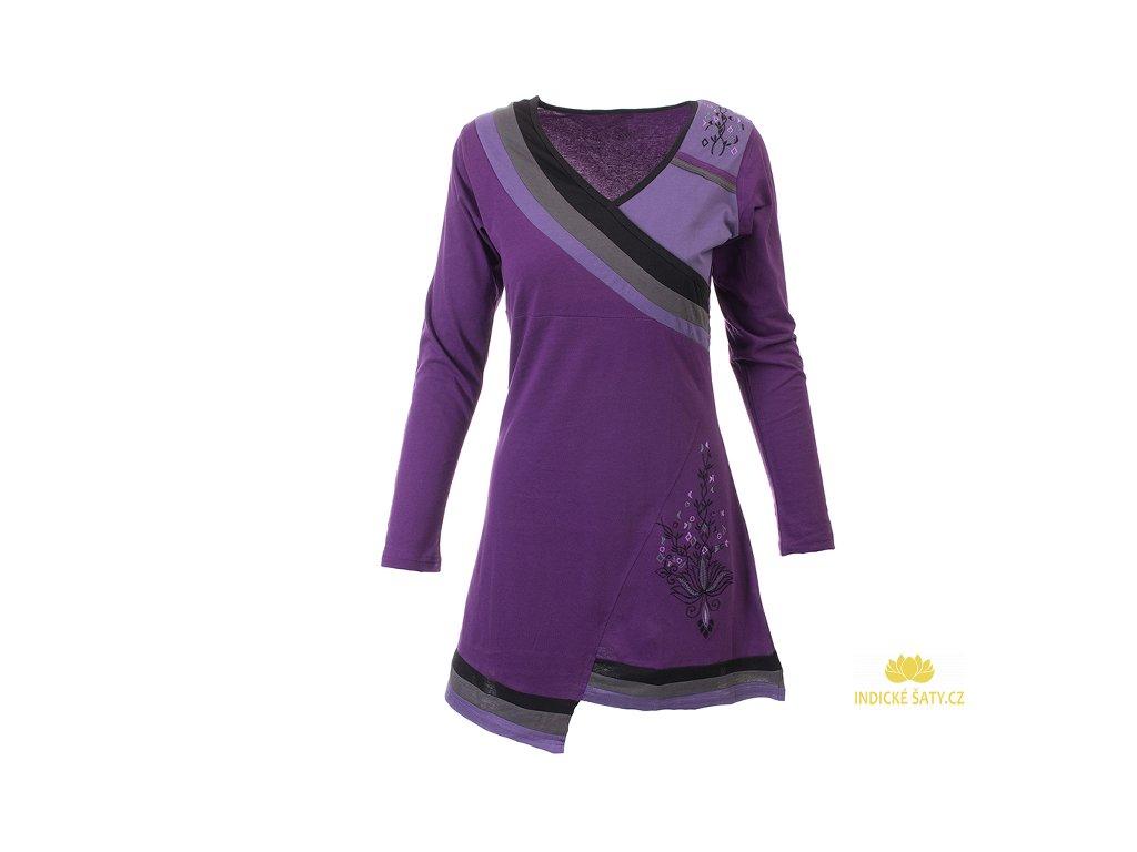 Krátké sportovní šaty s dlouhým rukávem fialové
