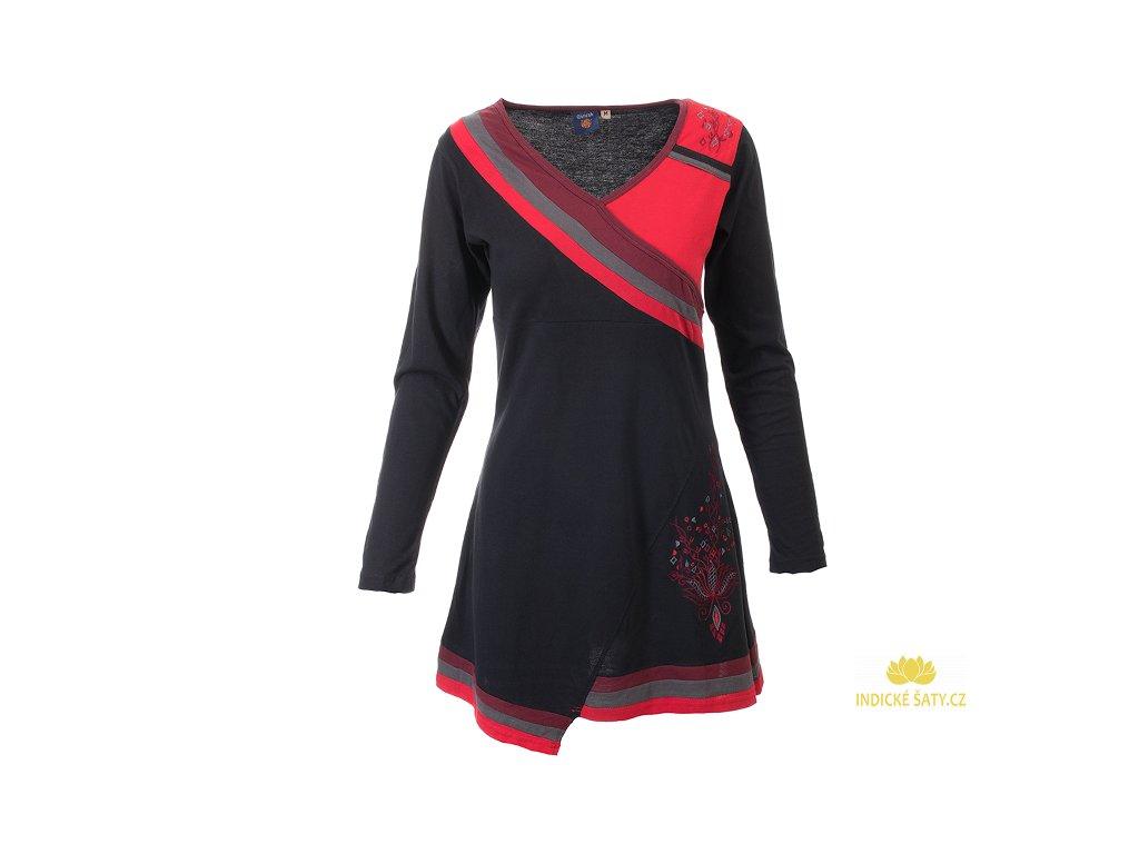 Krátké sportovní šaty s dlouhým rukávem černočervené