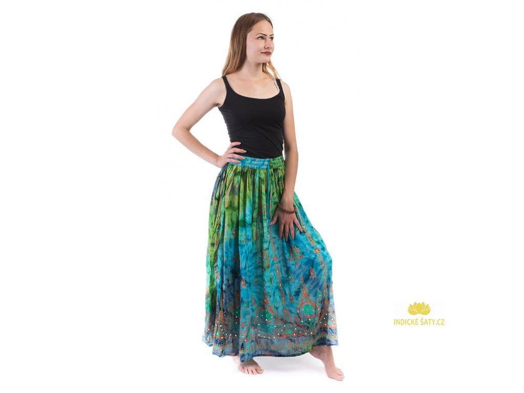 Dlouhá batikovaná indická sukně s flitry zelenomodrá
