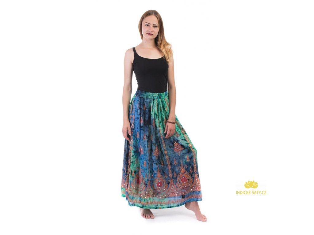 Dlouhá batikovaná indická sukně s flitry modrozelená