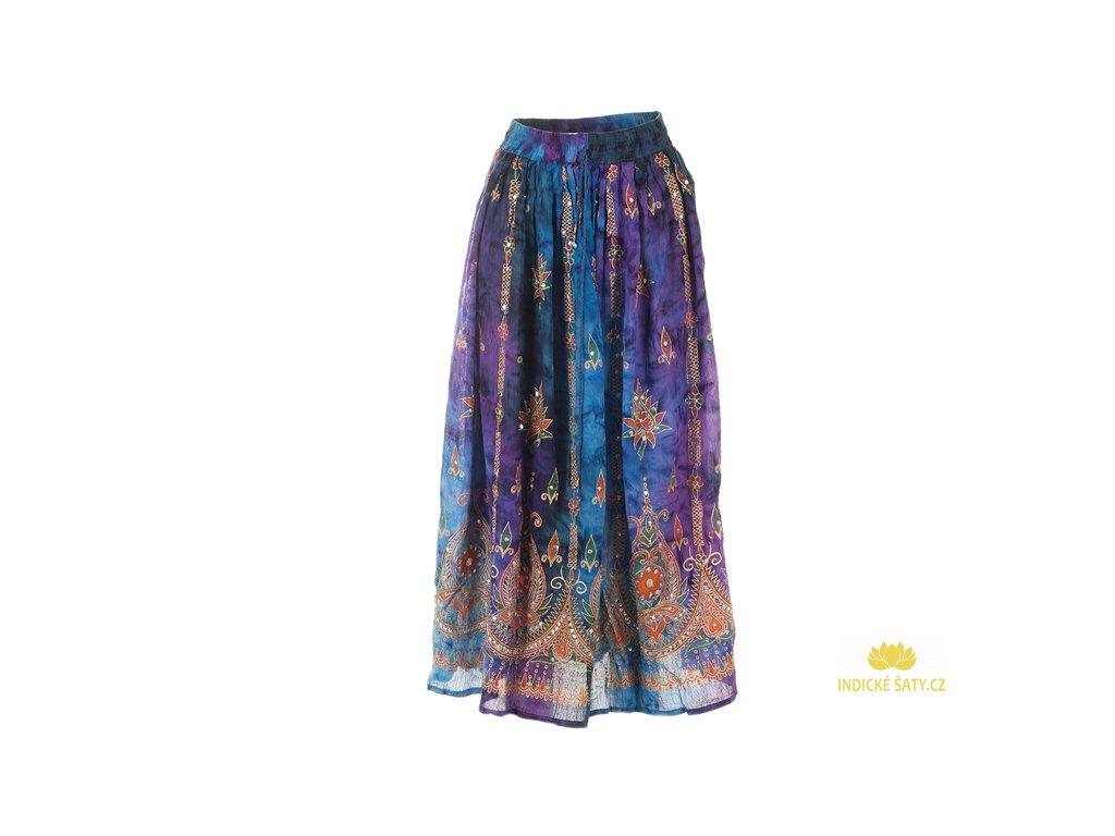 Dlouhá batikovaná indická sukně s flitry dofialova