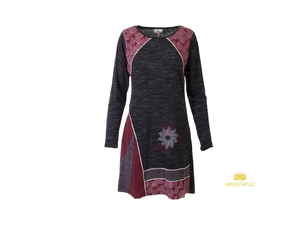 Krátké elegantní šaty s dlouhým rukávem Lístečky
