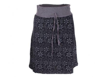 Krátká bavlněná sukně Květiny černá