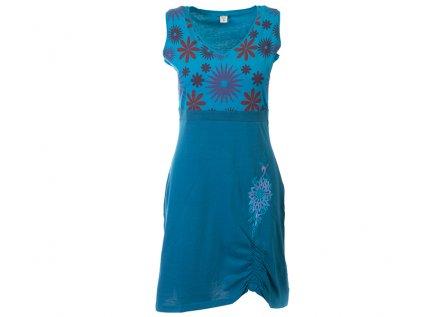 Bavlněná šatovka s květy petrolejově modrá