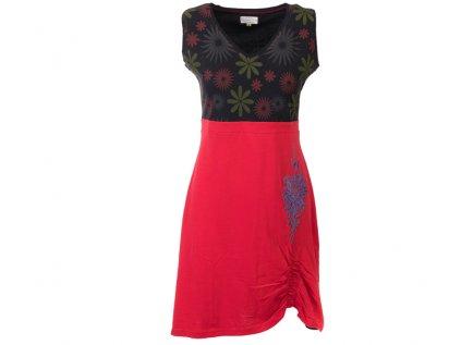 Bavlněná šatovka s květy černočervená