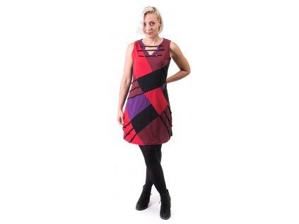 Originální etno šaty černočervené