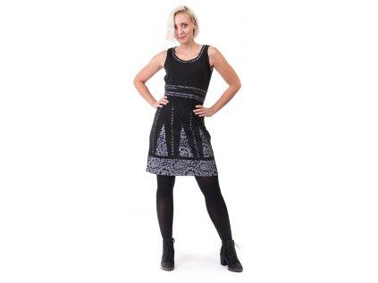 Originální krátké černé šaty sanskrit
