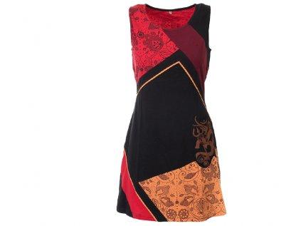 Krátké etno šaty se symbolem Óm černočervené