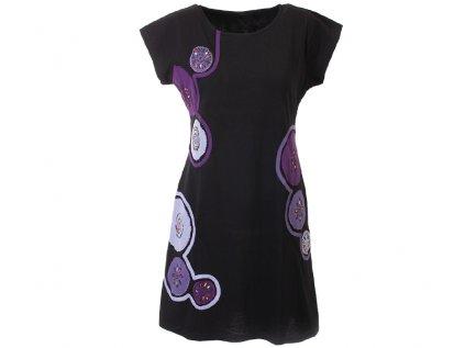 Krátké bavlněné šaty Mandaly černofialové