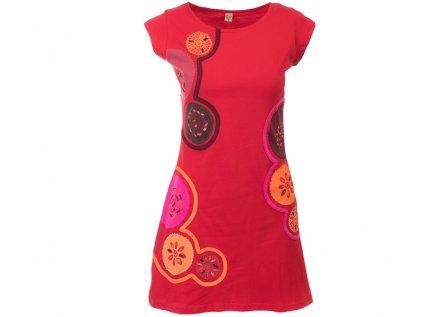 Krátké bavlněné šaty Mandaly červené