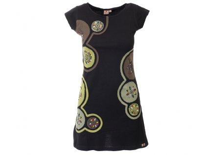 Krátké bavlněné šaty Mandaly černozelené